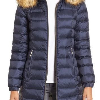 kate spade new york bow back down coat with faux fur trim | Nordstrom