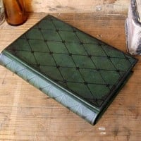 Green Leather Journal / Blank Book, Time Stopped