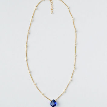 Sapphire Blue Gem Pearl Necklace, Gold Fill, Freshwater Pearl Station Necklace, 18 Inch, Something Blue