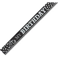 Metallic Black & White Birthday Sash