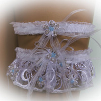 Lace Wedding Garter Set with Crystal Beads, White Garter, Bridal Garter Set, Vintage Garter, Stretch Garter, Crystal Garter, Prom Garter