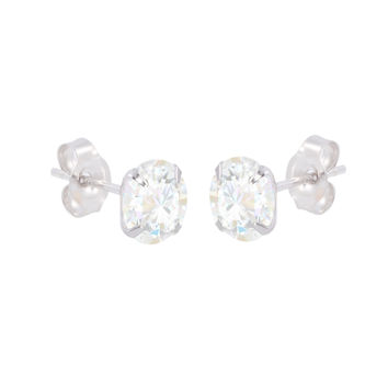 10k White Gold Earrings Round Clear CZ Prong Set Cubic Zirconia Studs Pushbacks