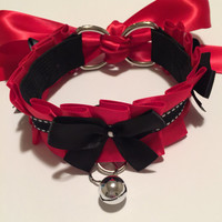 Lipstick Red and Black Kitten Play Collar - BDSM Slave Maid KittenPlay PetPlay Neko