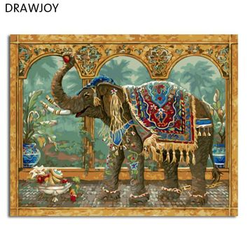 DRAWJOY New Framed Picture Painting By Numbers DIY Oil Painting On Canvas Home Decor Wall Art Abstract Elephant GX4649 40*50cm