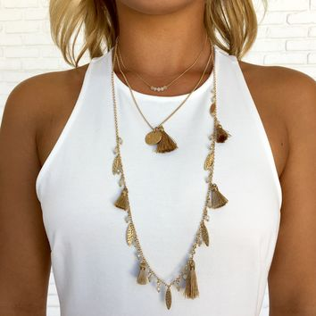 Golden Leaves Fringe Layered Necklace