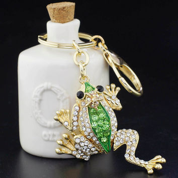 Unique Crown Frog Keyring Keychain Fashion Metal HandBag Pendant Purse Bag Buckle key chains holder Accessories Gift K009