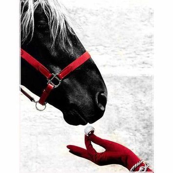 5D Diamond Painting Red Gloves and Red Horse Bridle Kit
