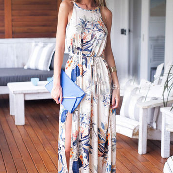White Floral Print Strappy Waist Tie Maxi Dress