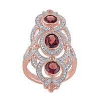 Garnet & 1/10 Carat T.W. Diamond Pink Rhodium-Plated Sterling Silver 3-Stone Ring (Red)