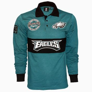 Philadelphia Eagles NFL Wordmark Long Sleeve Rugby Polo