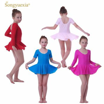 Girls' Ballet Dance Dress Children's Gymnastics Leotard Skirt Kids' Stage Dance Wear 2-10 Years 4colors