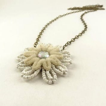 White and Cream Flower Rhinestone Pendant Antique by toppytoppy