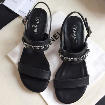 Chanel  Women Fashion Simple Casual Sandals Low Heeled Shoes