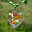 Resin 8bit Link Heart Rose Green Ribbon Necklace by KatieDidsx3