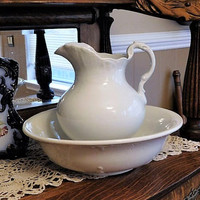 1800s Ironstone Water Pitcher Wash Basin Antique Victorian Set Mellor and Co Cook Pottery Trenton NJ Company Country Farmhouse Home Decor