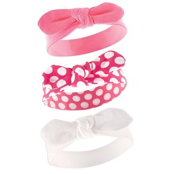 Yoga Sprout Baby Girls' 3 Pack Bow Baby Headbands,Pink Polka Dot,0-24 Months