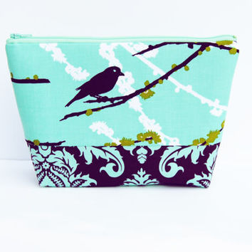 Purple zipper pouch, Plum cosmetic case /aqua purple birds, large makeup bag, clutch / wristlet /  pencil case