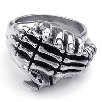 AMAZING SKULL HAND SET IN 925 STERLING SILVER RING FOR HER GIFT SET