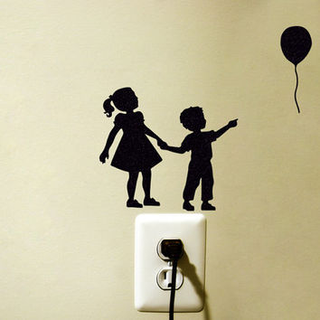 Brother And Sister Fabric Decal - Balloon Wall Decor - Victorian Art - Kids Wall Sticker - Retro Decor