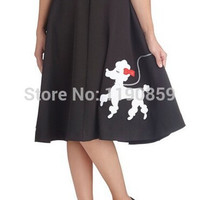 VTG 50's 60's Circle Swing Rockabilly Pinup Bombshell Retro Poodle Dog Skirt zy1034