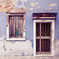 Rustic Orchid - Burano, Italy Art Print, Purple, Travel Photography, Door, Window, Radiant Orchid, Lilac, Pastel Home Decor