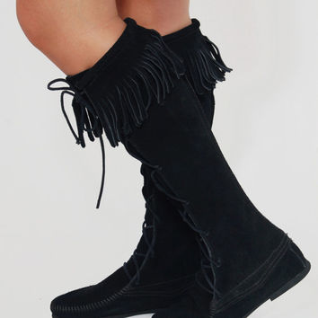 Vintage MINNITONKA Boots Black SUEDE Front Lace Up Boots FRINGE Knee High Boots Hippie Moccasin Boots Size 7