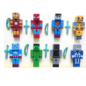 New 8pcs/set Minecraft Superhero building block Toy set minecraft Series 3 sword zombie steve juguetes figurine pickaxe