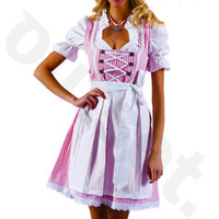 Dirndl Dress Pink-White, Ethnic 3 Piece Oktoberfest Bavarian Trachten. Austrian, German Folk Outfit - Festival Costume, Apron and Blouse