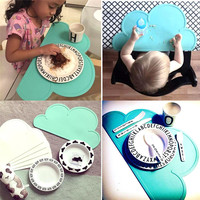Waterproof Silicone Placemat Bar Mat Baby Kids Cloud Shaped Plate Table Mat Set Home Kitchen Pads