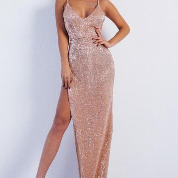 Sexy Deep V Neck Sequin High Side Slit  Backless  Maxi Party Dress