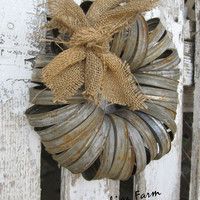 Wreath - Canning Jar Lids - Rustic Farmhouse Style - Garden or Door Decor - by: Sweet Magnolias Farm