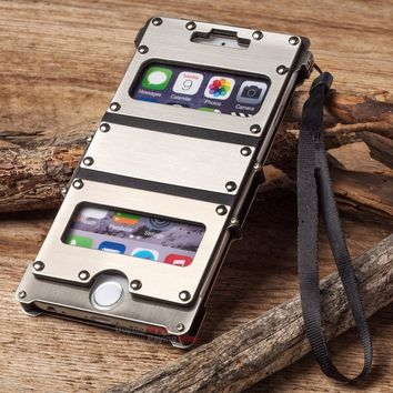 Luxury Outdoor 360 Degree Protect Phone Armor Defender Rivet Metal Aluminum Rugged Flip Kickstand Case Cover For iPhone X 8 7 PL