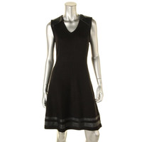 Calvin Klein Womens Ribbed Knit Sleeveless Sweaterdress