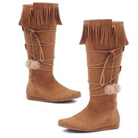 Fringed Moccasin Boots with Pom Pom Tassels