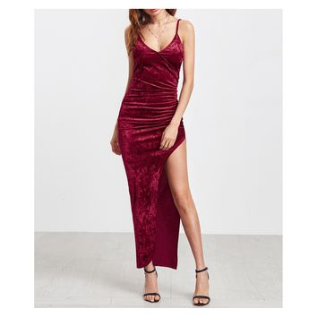 Burgundy Sleeveless Side Slit Velvet Maxi Dress