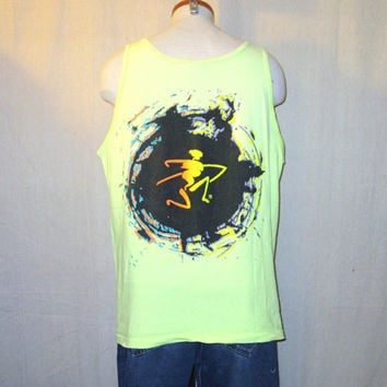 Vintage 1990 OCEAN PACIFIC SURF Graphic Neon Fluorescent Beach Hip Large Skate Cotton Tank Top