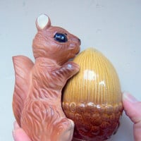 Vintage Squirrel and Acorn Salt and Pepper Shakers 1950s
