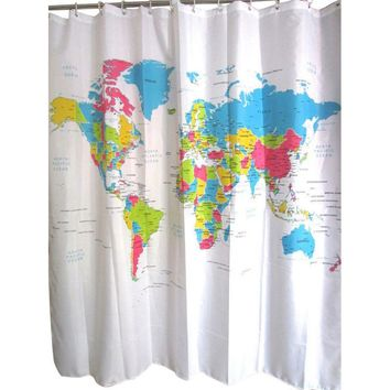 180x180cm World Map Polyester Shower Curtain For The Bathroom