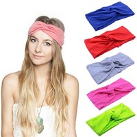 ONETOW 10 Colors Women's Cotton Turban Twist Knot Head Wrap Girls Cross Headband Twisted Knotted Hairband