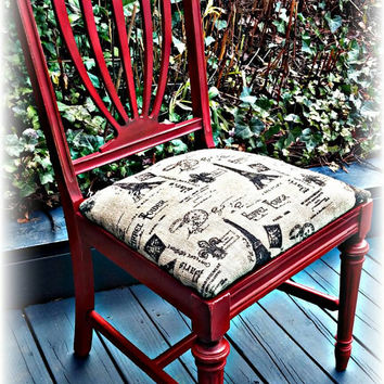 French country chair, vintage chair, red french country chair, red chair, burlap covered chair, country cottage, french country, distressed