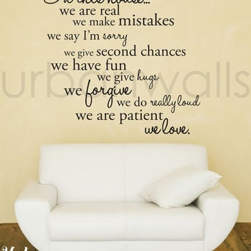 Vinyl Wall Decal Sticker Art, In this house