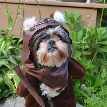 Furry Brown Dog Halloween Costume/Hood