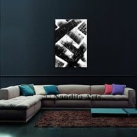 Large Wall Art Black Acrylic ABSTRACT PAINTING Wall Decor White Abstract Paintings Canvas Art Contemporary Wall Hanging Home Decor Artwork