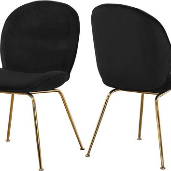 Paris Black Velvet Dining Chair (set of 2)