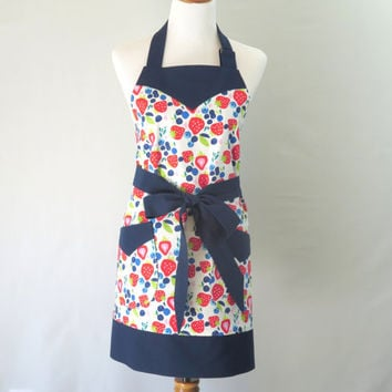 Womens Plus Strawberries Apron, X-Large Fruit Apron, Plus Summer Apron, X-Large Personalized Apron, Cute Plus Apron, Plus Strawberry Shower