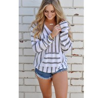 Hooded Striped Sweater 4 Colors