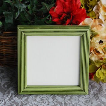 Nursery decor: Square vintage apple green hand-painted decorative wooden wall collage gallery picture frame