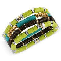 Kenneth Cole New York Bracelet, Silver-Tone Lime Green and Brown Bead Multi-Row Stretch Bracelet - Fashion Jewelry - Jewelry & Watches - Macy's