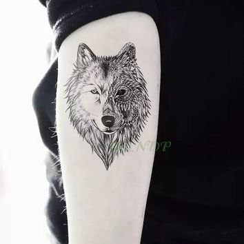 f64f4cf55 Waterproof Temporary Tattoo Sticker Animal Wolf Lion Eagle Tatto