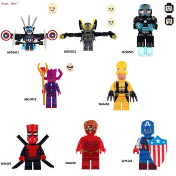 20pcs Captain America Yellow Jacket Figures Iron Man Galactus War Machine Deadpool The Flash building blocks bricks classic toys